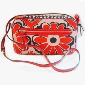 Coach EUC poppy floral scarf flight crossbody bag